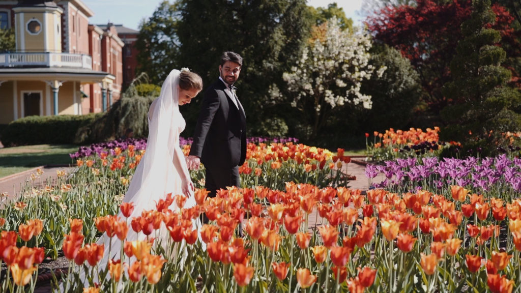 Beautiful Tulip Garden on Wedding Day